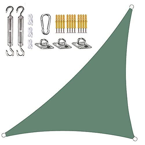 Toldo Vela De Sombra Triangular En ángulo Recto Impermeable Toldo con Protección UV, con Kit De Fijación Y Cuerda (3x3x4.3m,Verde Oscuro)