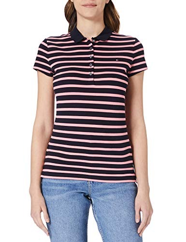 Tommy Hilfiger Short Sleeve Slim Polo Stripe Camiseta sin Mangas para bebés y niños pequeños, Classic Breton STP/Hot Magenta, XXL para Mujer