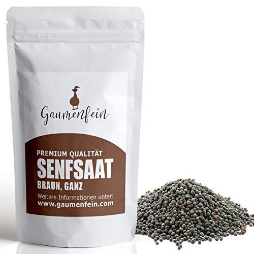 GAUMENFEIN® Senfsaat Braun Ganz - Senf Samen, Senf Körner - 100% natürliche Premium Qualität - 250g