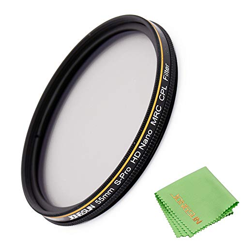 JONGSUN Filtro Polarizzatore 55mm, Filtro Polarizzatore Circolare, S-Pro HD Nano MRC16, 55mm Polarizing Filter, 16-Strati Multistrato, Vetro Ottico NITTO AGC, Filtro CPL