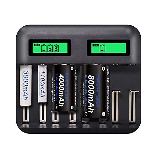 Qewrt Cargador de batería Inteligente Inteligente de 8 Ranuras Carga rápida para batería Recargable AA/AAA/C/D Ni-MH/Ni-CD Pantalla LCD