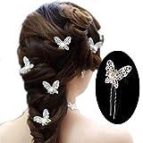 mciskin Paquete de 20 horquillas para el pelo con Mariposa de diamantes y perlas accesorio de cabello para bodas o fiestas