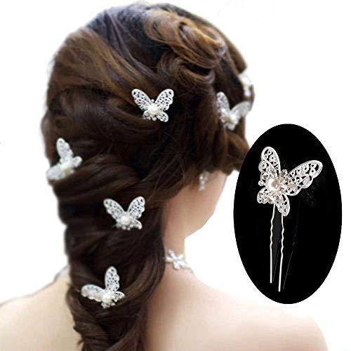 mciskin Paquete de 20 horquillas para el pelo con Mariposa de diamantes y perlas...