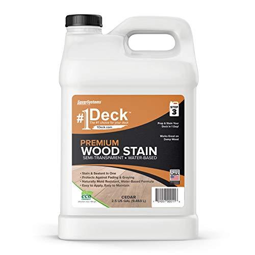 #1 Deck Premium Semi-Transparent Wood Stain for Decks, Fences, Siding - 2.5 Gallon (Cedar)
