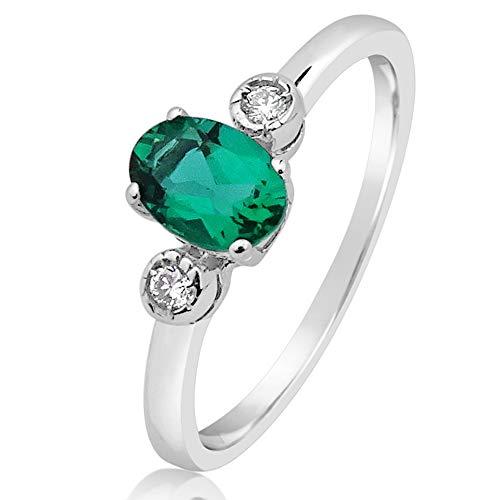 Mille Amori - Anello da donna in oro bianco 9 kt 375/1000, con diamanti 0,03 carati, smeraldo sintetico 0,50 carati, 6 x 4, collezione Gems