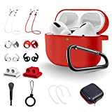 TOLUOHU AirPods Pro Case, 14 in 1 Air Pods Pro Accessories Set, Silicone Cover Compatible with Apple AirPods 3rd, Ear Hooks/Watch Airpods Holder/Eartips/ Strap/Brush/Ring/Keychain/Carrying Box(Red)