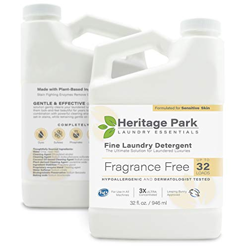 Heritage Park Laundry Detergent - Fragrance Free, Hypoallergenic & Dermatologist Tested - Gentle & Effective PH Neutral Formula, Safe for Delicate Fabrics - Concentrated for All Machines - 32 fl oz