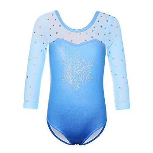 HUAANIUE 3-12 jaar meisjes turnpakje lange mouwen gymnastiek dansen kostuums blauw sneeuwvlok