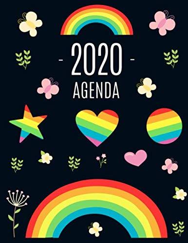 Arco Iris Agenda 2020: Planificador Diaria | Ideal Para la Escuela, el Estudio y la Oficina | Enero a Diciembre 2020