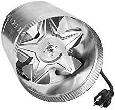 iPower GLFANXBOOSTER8 8 Inch 420 CFM Booster Fan Inline Duct Vent Blower for HVAC Exhaust and Intake 5.5' Grounded Power Cord, Low Noise, 8