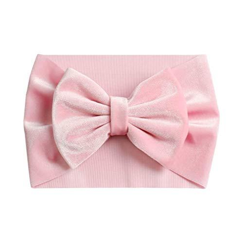 Serre-tête en velours doux avec nœud rose - Fait à la main