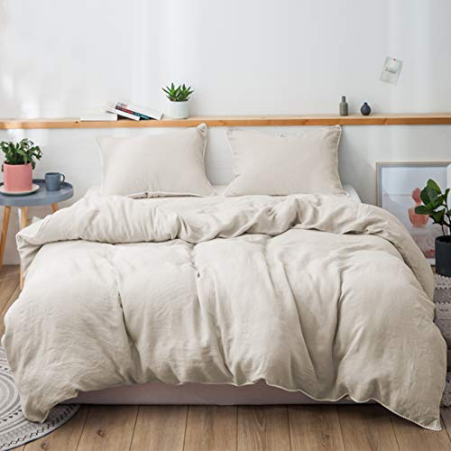 Simple&Opulence 100% Pure Linen Duvet Cover Set King 1 Comforter Cover and 2 Pillow Shams Soft Breathable Bedding Set with Pom Poms Design (Linen)