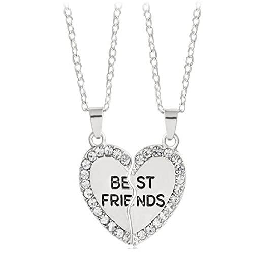 Liadance Forma Collar Kit de 2 Piezas/Set Mejor Amigo BFF Rhinestone Collar Corazón Colgante Amistad Rompecabezas de Costura joyería del Collar de Regalo para los Amigos (Plata) Collar Hermoso