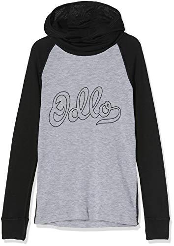 Odlo Kinder BL TOP with Facemask l/s Active WARM Kids Unterhemd, Black - Grey Melange - Placed Print FW19, 140