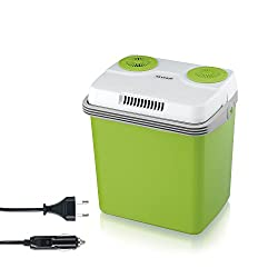 SEVERIN KB 2922 Elektrisk køleboks (med køle- og opvarmningsfunktion, 20 L, inkl. 2-tilslutninger: nettilslutning og yderligere 12 V-tilslutningskabel til cigarettænder) grøn-grå