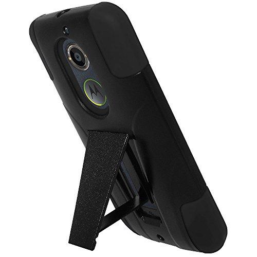 AMZER Double Layer Hybrid Kickstand Case Skin for Motorola Moto X 2nd Gen - Retail Packaging - Black