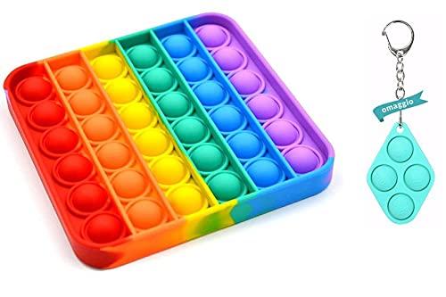 Antistress TIK Pop IT e Portachiavi Set Gioco Popit Game Rilassante per Bambini - 2 Fidget Toy Tascabili Multicolore