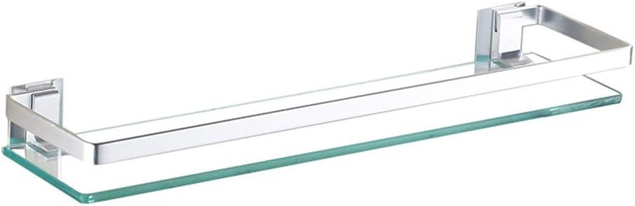 con Space Aluminium Rail Senza Forare Mensole per doccia Portasciugamani Mensola Anteriore A Specchio Rettangolare A 1 Livello da Parete Mensole bagno Mensola in Vetro Temperato per Bagno Doccia