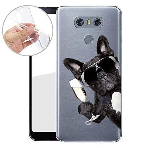 Finoo TPU Handyhülle für dein LG G6 Made In Germany Hülle mit Motiv und Optimalen Schutz Silikon Tasche Case Cover Schutzhülle für Dein LG G6 - Hund mit Sekt von der Seite