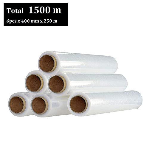 MultiWare Rouleaux de Film Plastique Etirable Résistant Film Protecteur Extensible pour Emballage et Palette 400 mm Transparent