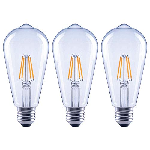 Asencia AN-03674 40 Watt Equivalent ST19 Clear All Glass Vintage Filament Dimmable LED Light Bulb, Soft White, 3-Pack, 50