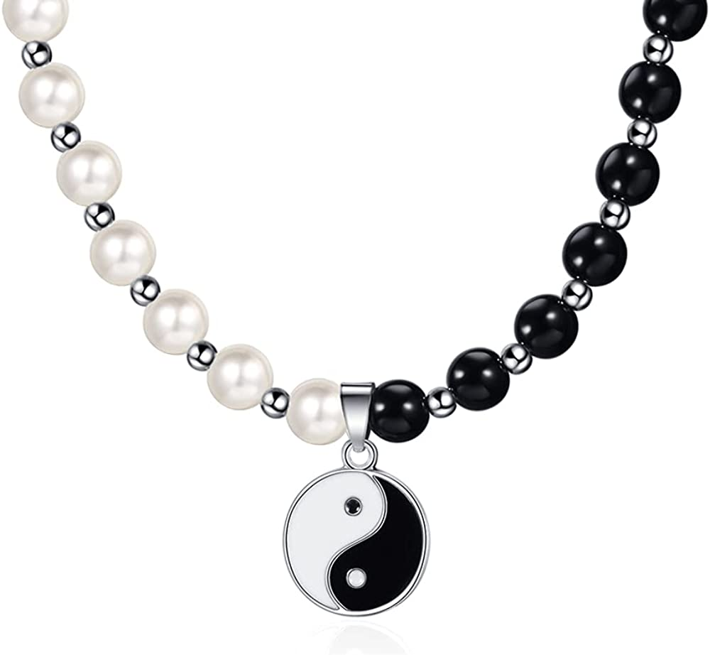 Yin Yang Necklace Choker Half Pearl Chain Leather Charm y2k Yin and Yang Necklaces for Women Men