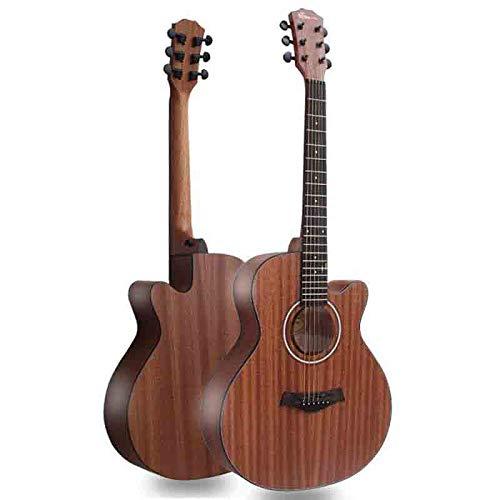 YXYOL Handgemachte Massivholz-Akustikgitarre Cutaway, Anfänger Stahlsaitenakustikgitarre zum Praxis-Werkzeug Studenten Kinder Erwachsene Musikfreunde, 27 Zoll