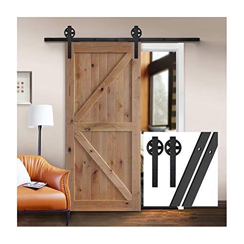 gifsin 20FT/610cm Schiebetürbeschlag Set Hängeschiene Schiebetürsystem Tür Hardware Kit für Innentüren,J-Form mit Großen Rollen