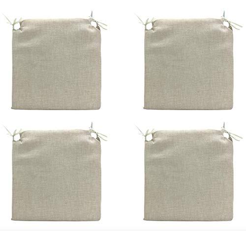 TIENDA EURASIA® Pack 4 Cojines para Sillas - Estampados Lisos con 2 Cintas de Sujeción - Ideal para Interiores y Exteriores - 40 x 40 x 3 cm (Crudo)