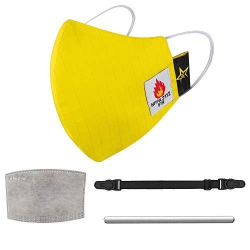 Texas FRC - Hi-Vis Fire Resistant Face Mask- 1 Adjustable Soft Nylon Ear Saver - 1 Self Adhesive Nose Bridge Strip - 4 Filters - NFPA 2112-100% Cotton Lightweight (Yellow)