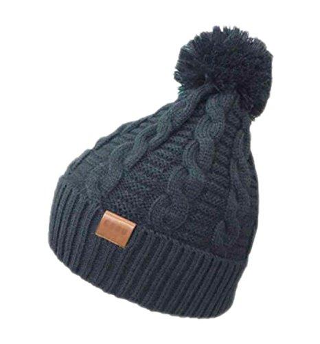 Black Temptation Outdoor Chaud Patinage Hat Neige Knitting Noir Bonnet en Laine