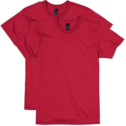 Hanes Men's Nano Premium Cotton T-Shirt (Pack of 2), Deep Red, Large