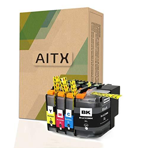 AITX LC225XL LC229 XL Cartuchos de Tinta Compatible con Brother MFC-J5320DW J5620DW J5625DW J5720DW, para Brother LC229BK LC225XLC LC225XLM LC225XLY LC229XLVALBP (Negro, Amarillo, Magenta, Cian)