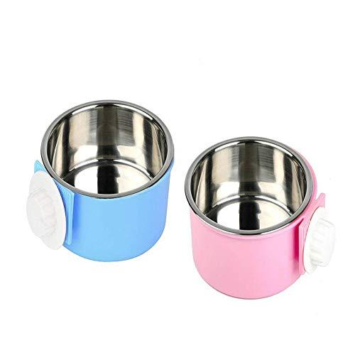 Tweedelige set Krat voerbak Water voerbak -Roestvrij staal verwijderbare hangende ronde kom -Eenvoudig voeren kan worden gebruikt voor kleine hond/kat/konijn