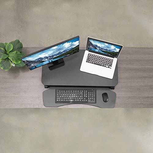 VIVO Black Height Adjustable 32 inch Standing Desk Converter, Sit Stand Dual Monitor and Laptop Riser Workstation, DESK-V000K