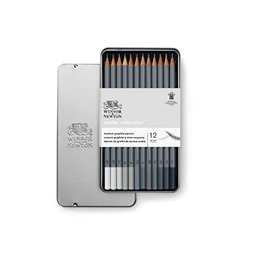 Winsor & Newton 490008 präzisions Bleistifte - Graphic , 12 Skizzierstifte in der Metallbox sortiert, 4H, 3H, 2H, H, F, HB, B, 2B, 3B, 4B, 5B,6B