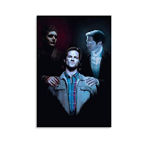 Ghychk Supernatural TV Series Dean & Sam Winchester Póster de lujo de pintura al óleo colorido arte de pared, impresiones y carteles para decoración del hogar, listo para colgar, 60 x 90 cm