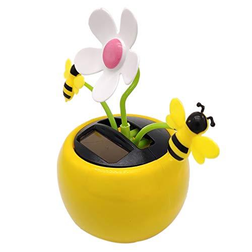 F Fityle Solar Wackelfigur Auto Wackelblume Tanzende Blume Solarblume mit Honigbiene Dekoration Wohnkultur