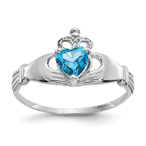 14k White Gold Cubic Zirconia Cz December Birthstone Irish Claddagh Celtic Knot Heart Band Ring Size 7.00 Fine Jewelry For Women Gifts For Her