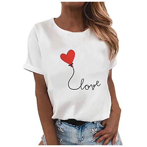 VEMOW Blusas y Camisa Camisetas Manga Corta Mujer Básico T-Shirt Cuello Redondo, Verano Informal Última Blusa Tops con Estampado Mariposa de Color Tallas Grandes Tshirt Original tee(H Blanco,M)