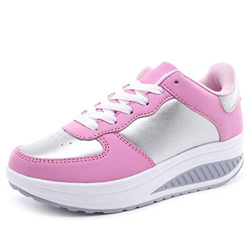 Zapatillas de Plataforma para Mujer cómodas y Casuales con Cordones Transpirables de Altura Interior Gruesas Zapatillas de Deporte con amortiguación Inferior Suave
