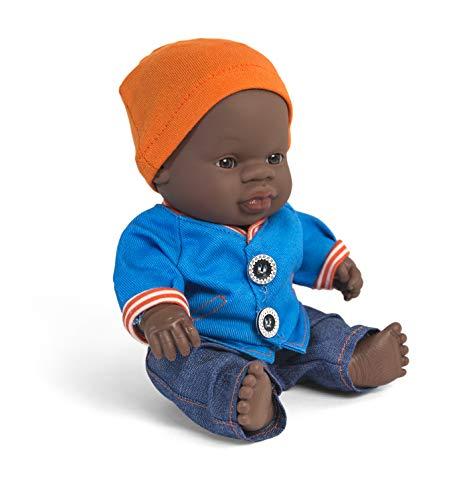 Miniland poppenkleding, 21cm Jeanbroek, jas en muts. 21cm blauw, oranje.