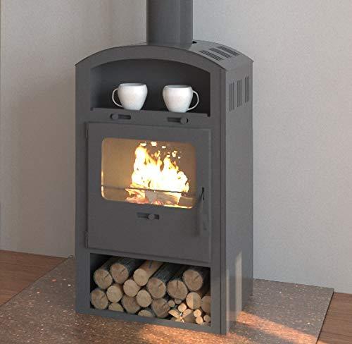 EEK A Kaminofen für Holz+Kohlefeuerung, gussgrau – 6,6kW