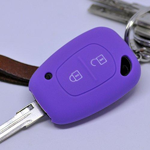 Soft Case Silikon Schutz Hülle Auto Schlüssel Lila kompatibel mit Renault Kangoo Trafic Master Primastar Opel Movano Vivaro Nissan Interstar 2 Tasten
