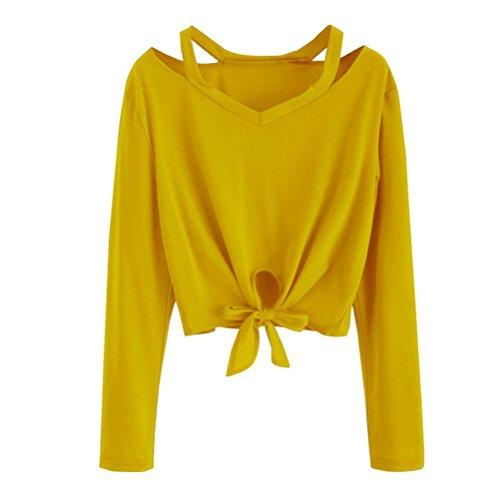 ESAILQ DamenSommer T-Shirt/Oberteile Kurzarm - Damen(XL,Gelb)