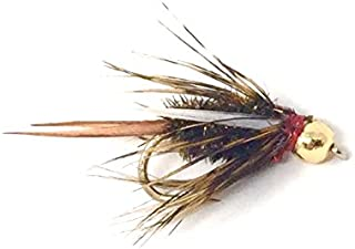 Feeder Creek Fly Fishing Flies - Prince Bead Head Nymph Assortments - One Dozen Wet Flies - 3 Size Variety 14,16, 18 (4 of Each Size) for Trout and Other Freshwater Fish