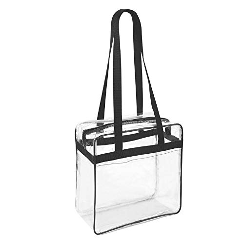 Clear 12 x 12 x 6 Stadium Approved Tote Bag with Side Pocket and 35' Shoulder Straps (Black,Clear)