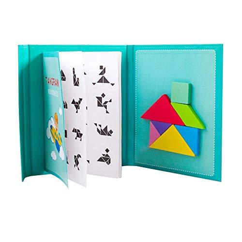 Tangram Puzzel Magnetische reisboekenspellen, houten puzzelset, road trip tangoes puzzelvormen dissectie met oplossing, hersenen teaser cadeau voor kinderen en volwassenen