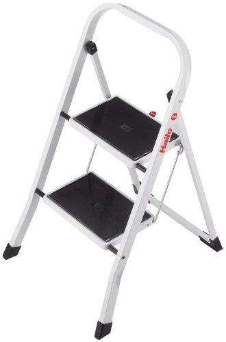 Hailo K20 BasicLine Stahl-Trittleiter, 2 Stufen, Sicherheitsbügel, Klappsicherung, einfach zu verstauen, belastbar bis 150 kg, weiß, 4396-901