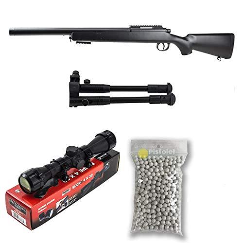 PACK completo softair M52 Sniper Double Eagle / Sniper a molla / Plastica ad alta resistenza / Ricarica manuale (1 Joule) -Consegnato con accessori